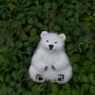 Войлочная брошь Медведь брошка из шерсти валяная Ведмедик