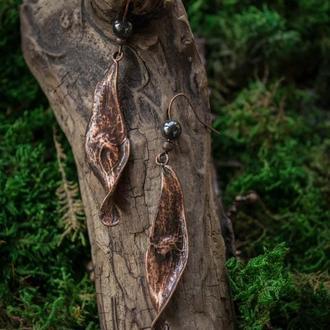 Серьги ′Ясень с гематитом′