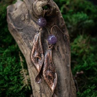 Серьги ′Ясень с аметистом′