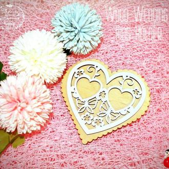 Подставка для Обручальных Колец Сердце 12 см Деревянная Свадебная сердечко підставка для весільних