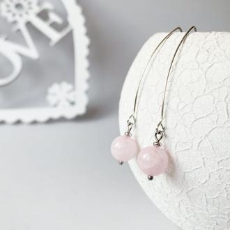 Длинные серьги с розовым кварцем (модель № 549) JK jewelry