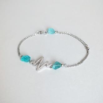 Браслет с необработанными кристаллами голубого апатита (модель № 551) JK jewelry