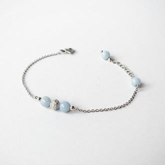 Тонкий браслет-цепочка с натуральным ангелитом  (модель № 554) JK jewelry