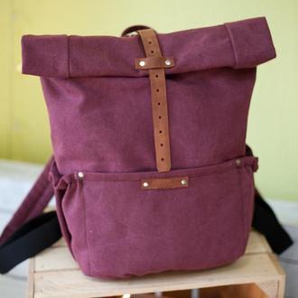 Бордовый рюкзак из хлопка, рол топ рюкзак на молнии, качественный текстильный рюкзак цвета бургунди