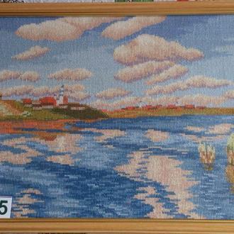 Вышивка крестом. Картина в рамке. 01-5 Озеро (по картине Левитана)