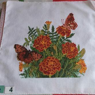 Вышивка крестом. Мулине. 02-4 Бабочки и цветы. Работа без рамки.