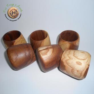 Набор деревянных  бокалов из вяза