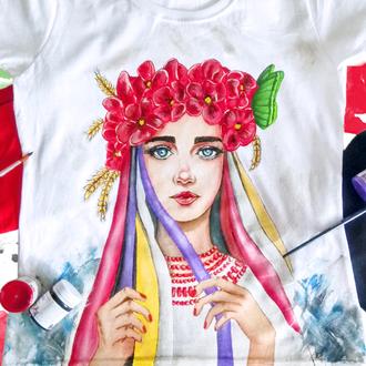 """Жіноча футболка з двостороннім розписом """"Україночка"""""""