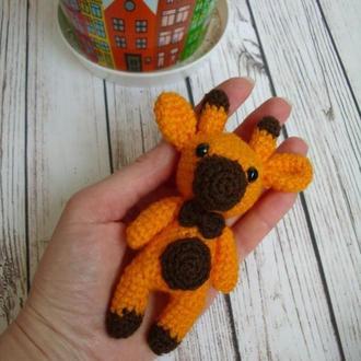 🍓 Жирафик вязаный. Миниатюрная игрушка жираф. Маленький жираф крючком. Брелок на сумку, рюкзак.