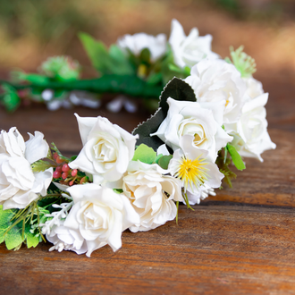 Белый свадебный венок для волос, Нарядный веночек для детского праздника