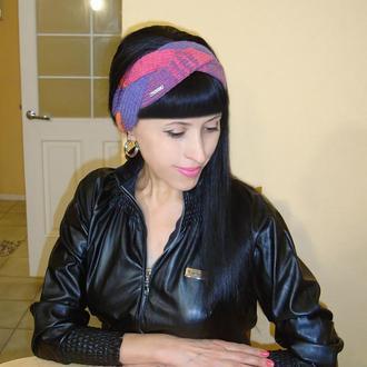 Вязаная повязка на голову женская - Радуга