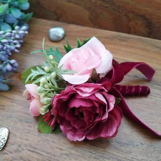 Бутоньерка для жениха в цвете Бургунди Бутоньерка для свидетеля