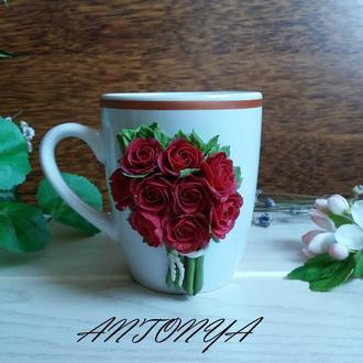 Чашка с цветами , чашка с розами, чашка в подарок