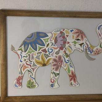 Картина на стекле. Слон.