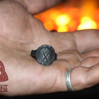 Кованое Железное Кольцо с Руною Одале Odal Rune