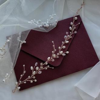 Свадебное украшение для волос, веточка в прическу, украшение в прическу, ободок, гілочка в зачіску