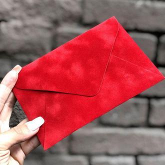 Бархатный конверт С6 красный мак