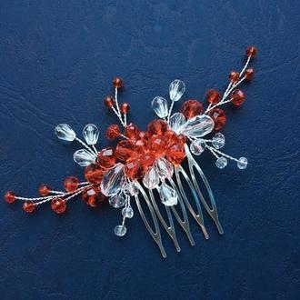 Гребінець в зачіску «Червоний», красный гребешок