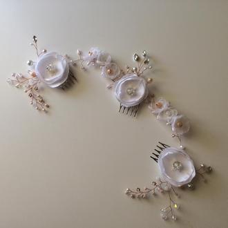 Свадебная веточка в прическу, гребень в свадебную прическу, свадебный венок