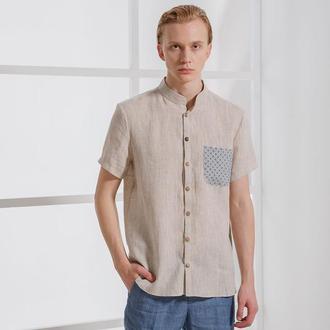 Чоловіча сорочка з вишитим кишенею