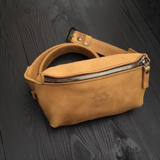 Поясная коричневая бананка, Кожаня сумка на пояс