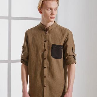 Льняная рубашка с мережкой