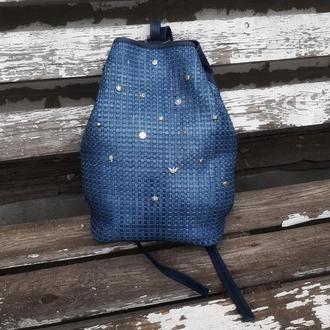 Натуральная плетеная кожа. Шикарный рюкзак в тренде итальянской моды