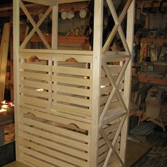 Стеллаж деревянный на 4 полки + ящики