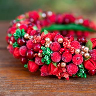 Красный ободок  с ягодами и бусинами, Обруч под вышиванку