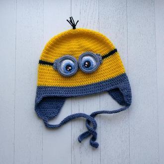 """Вязаная шапка для мальчика """"Миньон"""""""