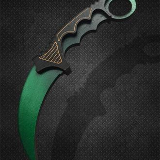 Ніж CS:GO Керамбіт Гамма Доплер Смарагд. Karambit Gamma Doppler Emerald