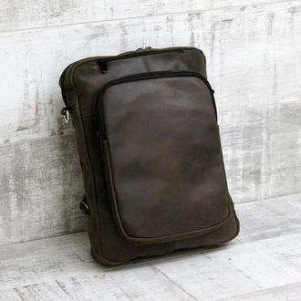Рюкзак-наплечная сумка из натуральной кожи transformer коричневый