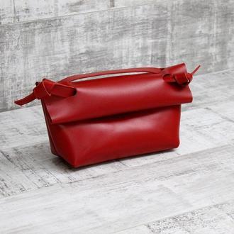 Женская сумочка из натуральной кожи  knot красная