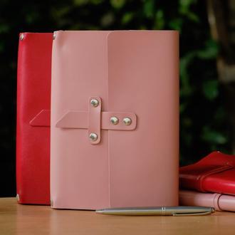 Кожаный блокнот А5 «Nota5 Powder» (розовый, с гравировкой, для рисования, женский)