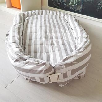 Гнездышко (кокон, бєбинест, дорожная кроватка) со сьемным чехлом Grey Lines