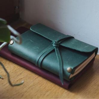 Кожаный блокнот А6 «Nota6 Green» (зеленый, с гравировкой, для рисования, мужской, женский)