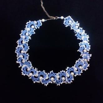 Колье огалала голубое