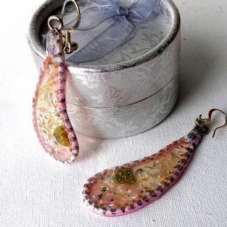 Сережки с натуральными камнями Розовый сережки Летние сережки Длинные сережки