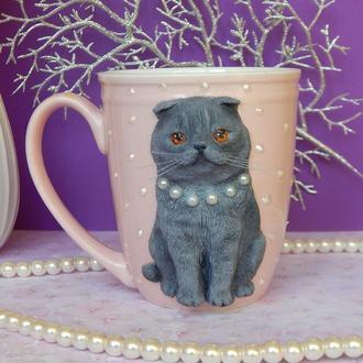 Чашка с полимерной глиной Шотландская кошка.Кружка  с котом.Чашка с кошечкой