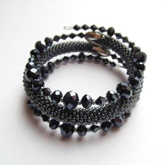 Черный тройной браслет