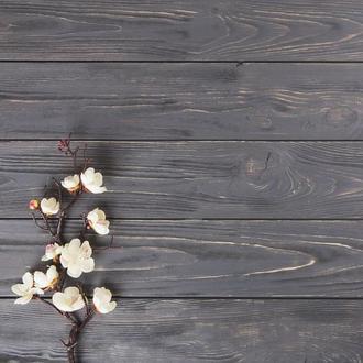 Виниловый фотофон серые текстурные доски и веточка 70*70
