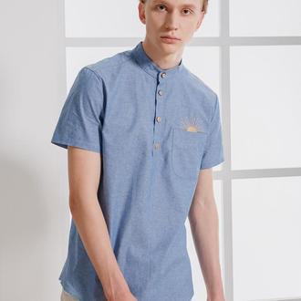 Рубашка с коротким рукавом голубого цвета