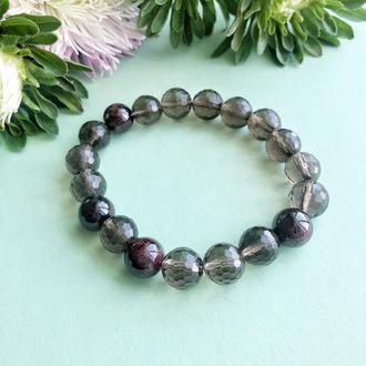 Женский браслет из граната и раухтопаза, гранатовый браслет,вечерние украшения из натуральных камней