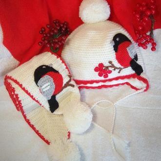 "Комплект шапочка и шарф ""Снегирь"". Теплая шапка. Зимняя шапка и шарф"