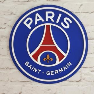 Деревянный логотип постер эмблема футбольного клуба Париж Сен Жермен