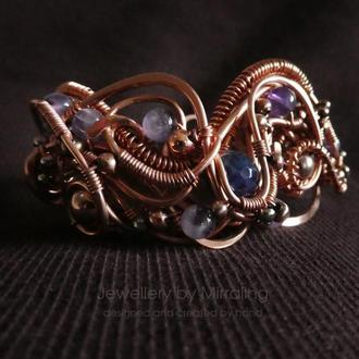 Комплект: медный браслет и серьги с агатом и аметистом