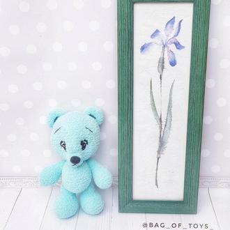 Мишка мятный, маленький  медвежонок Тиффани, вязаный мишка