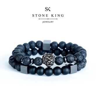 """Мужские браслеты """"Magic Lion"""" и """"My Way"""" из натуральных камней лавы и шунгита (комплект)"""