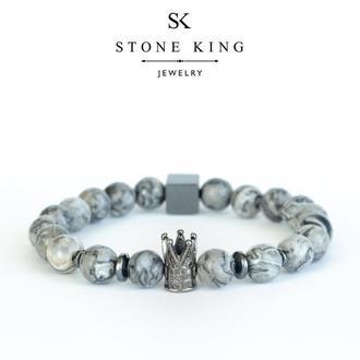 """Мужской браслет """"King"""" из натурального камня серой яшмы"""
