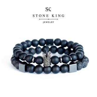 """Мужский браслеты """"King"""" и """"My Way"""" из натуральных камней шунгита и лавы (комплект)"""